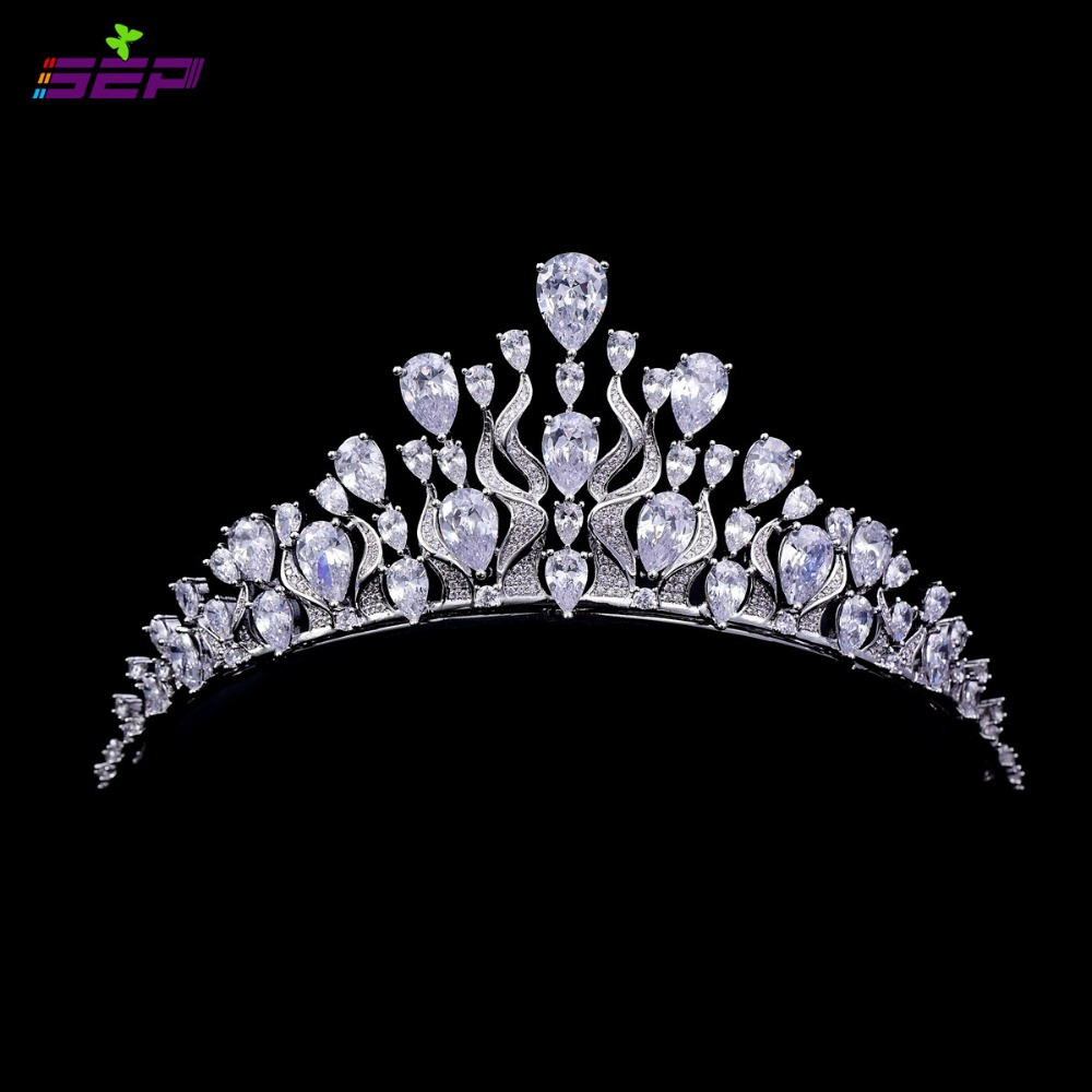 Clear Teardrop Crown Full AAA CZ Tiara Bridal Wedding Hair Jewelry Accessories Women Pageant Crown TR15068<br><br>Aliexpress