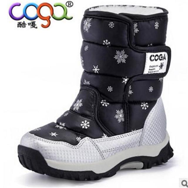 Девочка сапоги 2016 зимние водонепроницаемые гольфы ребенок снега сапоги обувь ребенок мужского пола сапоги