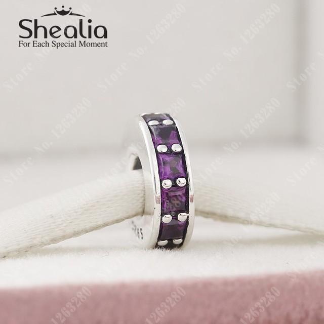 2015 осень новый вечность прокладка очарование бусины с пурпур CZ проложить прокладки серебро 925 изящные ювелирные подходят DIY браслеты