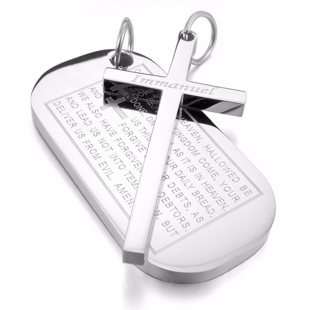 Men's Stainless Steel Cross Pendant Silver Dog Tag Cross Necklace English Bible Epigraph For Lords Prayer With 23 Inch Chain(China (Mainland))