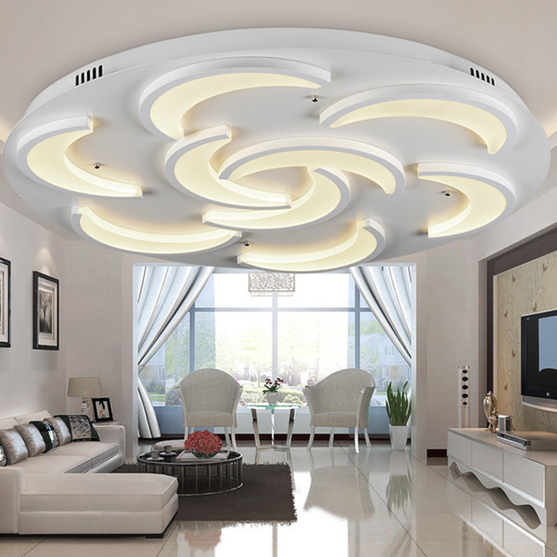 Flush mount modern ceiling light for living room moon for Living room light fixtures