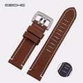 High Quality Black Brown Colors Of Genuine Leather Watchband Fit For Military Watches 23MM