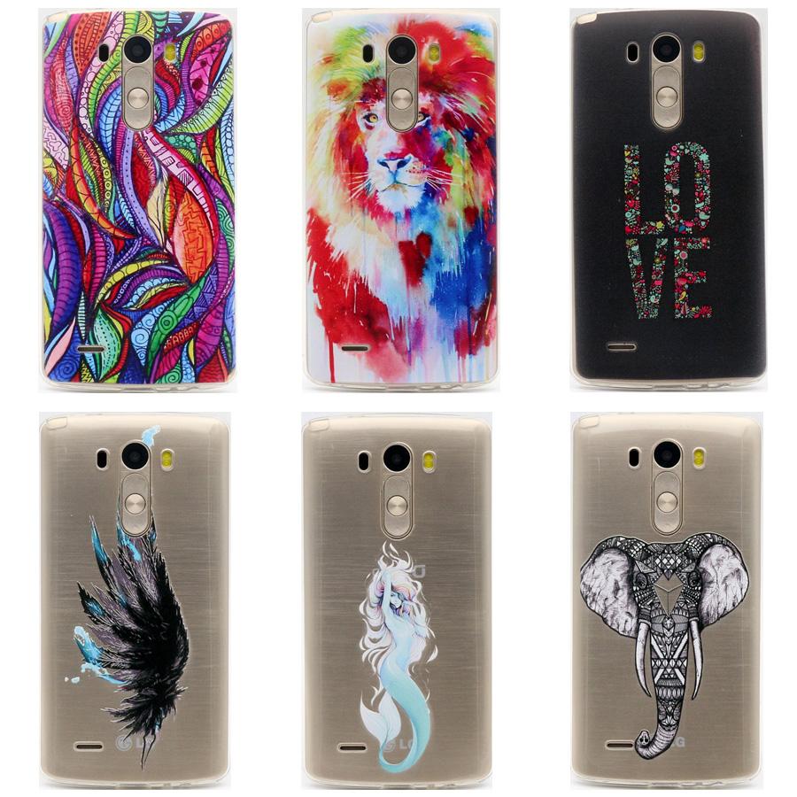"TPU Soft Case LG G3 5.5"" Transparent Printing Drawing Ultra-Thin Silicone TPU Phone Cover LG G3 D855 D850 D851 D830"