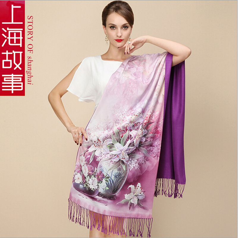 2016 New 100% Silk Scarf Shawl Pashmina Cover-ups Shanghai Story Brand scarf For Winter and Autumn 18 colors Available(China (Mainland))