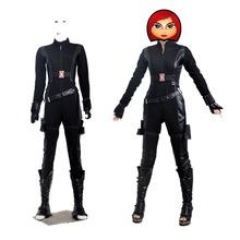 2014 NEW Hot Captain America 2 Avengers Black Widow Natasha Romanoff Cosplay Costume Women Sexy Jumpsuit Movie Role-playing