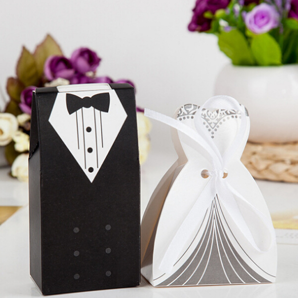 Wedding Party Gift To Bride And Groom : 100pcs/Lot Party Favor Gift Tuxedo Dress Groom Bridal Wedding Candy ...