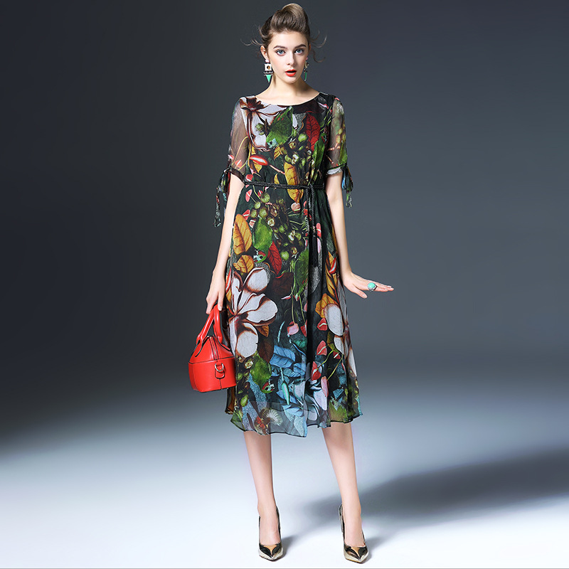 100% silk dress new 2016 summer dress short sleeve O neck long vintage print women dress high end vestidos