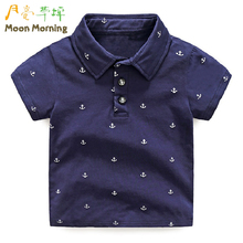 Buy Moon Morning Kids Polo Shirts 2T~10T Cotton Turn-down Collar Printed Summer Children Clothes Blue Dark Short Sleeve New Garment for $12.77 in AliExpress store