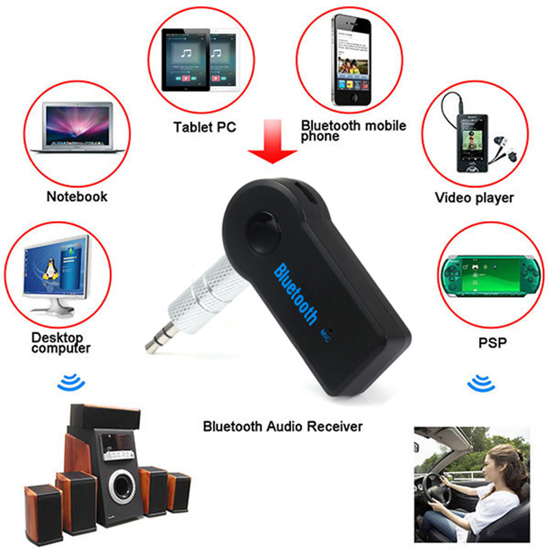 Wireless Bluetooth 3.5mm AUX Audio Stereo Music Home Car Receiver Adapter Mic GE Car Speakerphone Bluetooth Kit Music Receiver(China (Mainland))