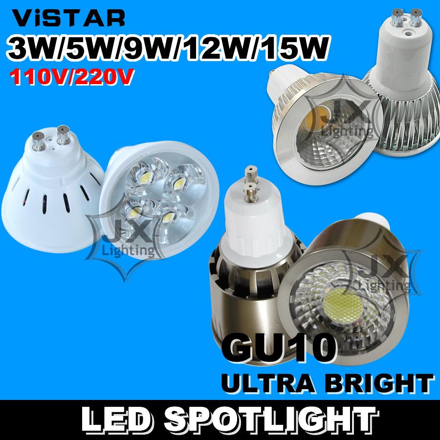 LED spotlights 2W 3W 5W 9W 12W 15W lamp cup GU10 LED bulb downlight 110V240V 220V Warm white Cold white Wholesale freeshipping(China (Mainland))