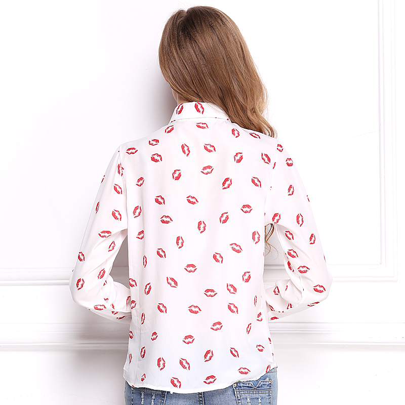 Lady Sexy Red Lip Kiss Print Long Sleeve Button Polo ShirtsTop Free Shipping WL2116