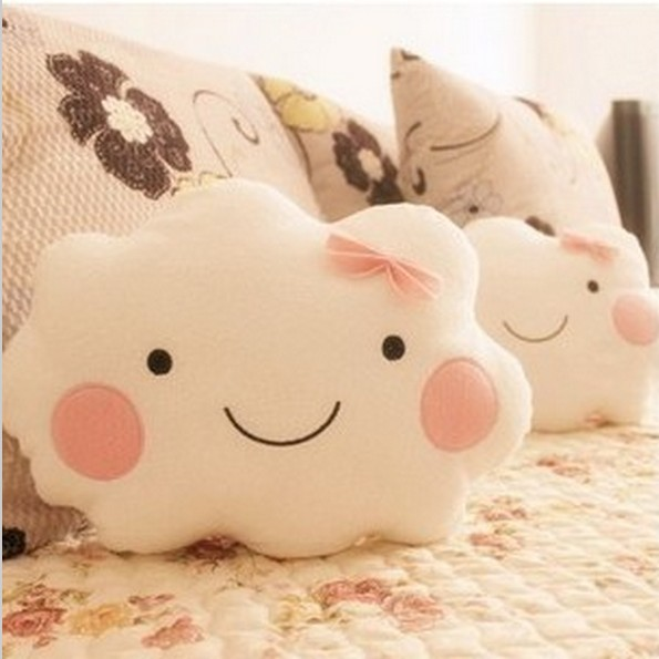Kawaii Smiley Face Bow Cloud 100% Cotton Stuffed Back Cushion Seat Cushion Plush Toy Retail for girl best gift christmas gift(China (Mainland))