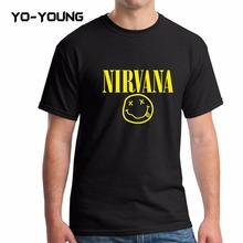 Yo-Young Men Summer T Shirts Fashion T-shirts Rock Band Nirvana Golden Letters Printed 100% 180g Combed Cotton Brand Customized