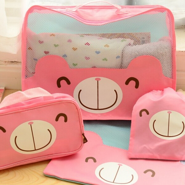 4PCS/Set Cute Cartoon Travel storage bag Packing cubes Luggage Organizer for Clothes shoes cosmetic Traveling bags(China (Mainland))