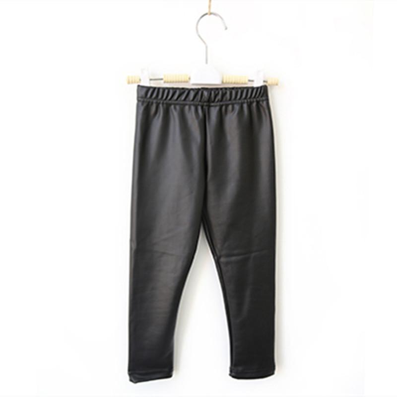New Spring Autumn skinny black kid leather pants Children Clothing Baby Girl Pants Slim Fit girls leggings(China (Mainland))