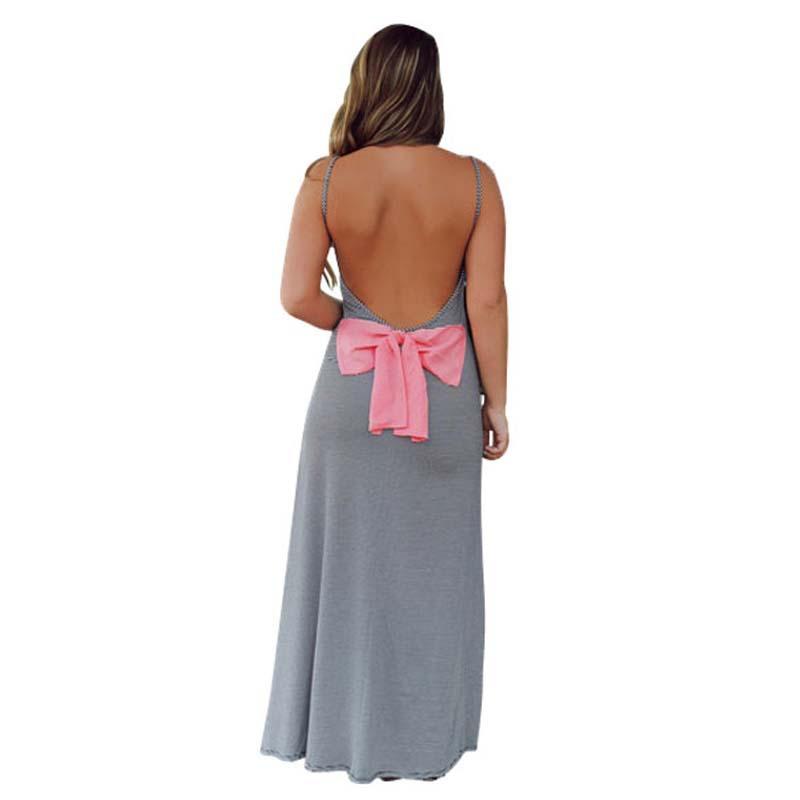 2015 Summer Style Gray Women Long Dress Sexy Backless Bow Long Dress Vestidos De Playa Tube Top Dress Robe Longue Femme Z230(China (Mainland))