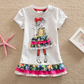2016 Retail BABY Girl Clothes short Sleeve Girls Dress Kids pretty Dresses Full A line children