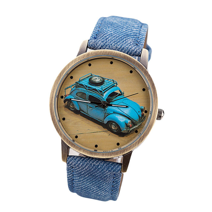 Mance 2016 On Sale Casual Concise Fashion Boy Girl Kids Children Sport Retro Car Pattern Denim Twill Strap Watch relogio(China (Mainland))