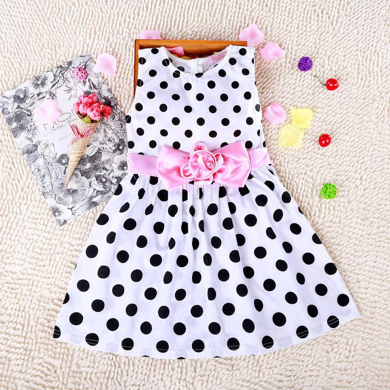 Summer 2016 Dark Blue Small Girls Dress O-neck Bow Lovely Princess Dress With Sleeveless Retail Black Dot Little Girls Dress(China (Mainland))