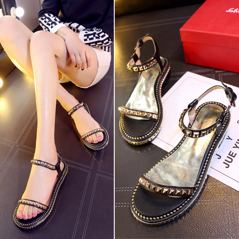 Jos Cabin Women Sandals Ankle Strap Sexy Flat Rivets Sandals Punk Style Women Shoes Punk Summer Shoes Sandals<br><br>Aliexpress