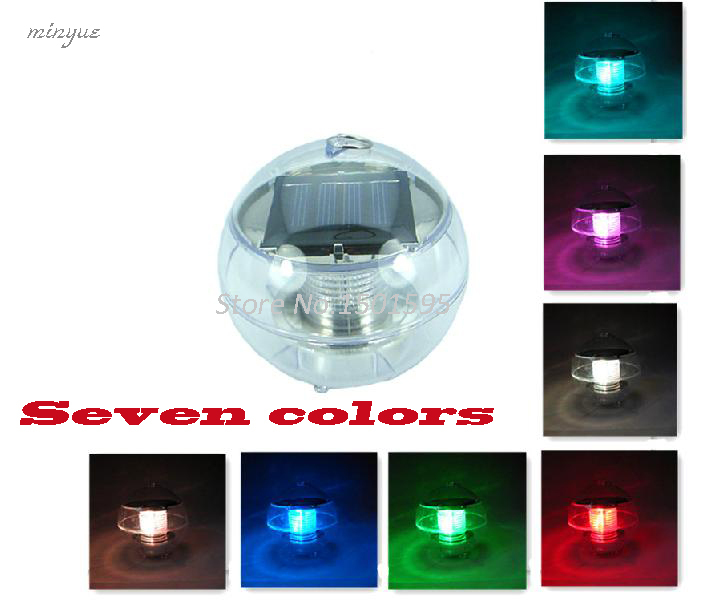 Solar Power Solar Pane Waterproof Automatic Color Changing Led 7 Colors Floating Outdoor