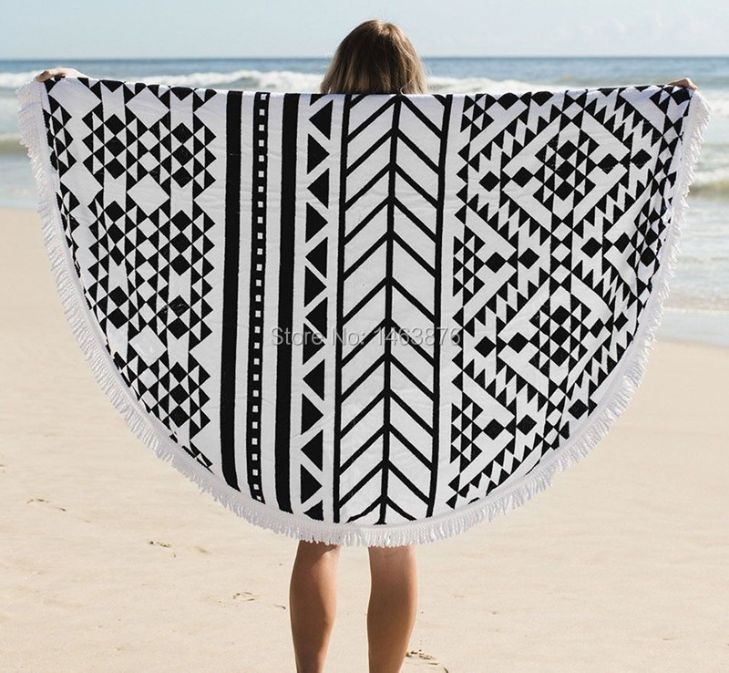 Beach Cover 100% Cotton Roud Bohemia Printed Tassel Knitted Beach Towel soft deplage microfiber towel 2016 New arrival<br><br>Aliexpress