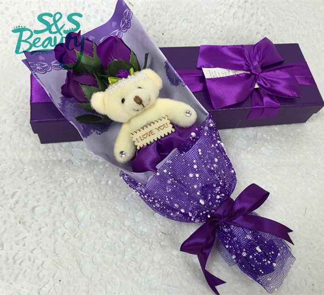 gift petals soap rose flowers bath confetti skin whitening body cute bear wholesale deluxe on March 8 wedding decorative S173(China (Mainland))