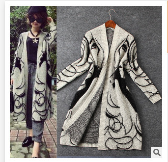 2015 New Autumn Winter Style Casual Long Sleeve V-Neck Cardigans Women Long Knitted Sweater Print Loose High Quality QZ47(China (Mainland))