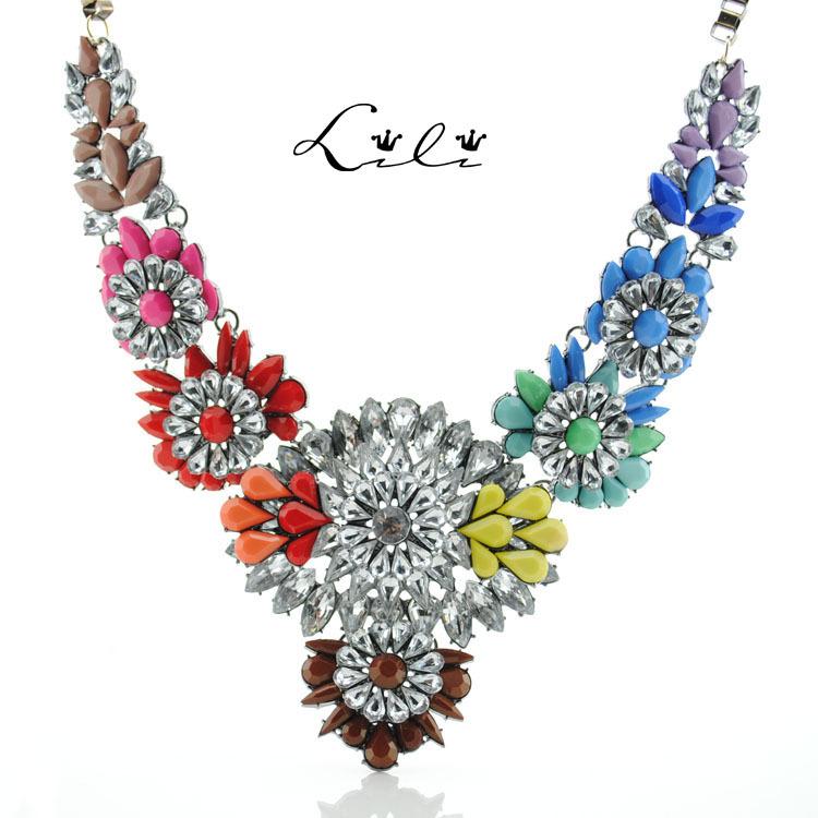 2015 Fashion Brand Shourouk Flower Statement Luxury Big Necklaces Pendants Chunky Sweater Colar Chain Steampunk Bijoux