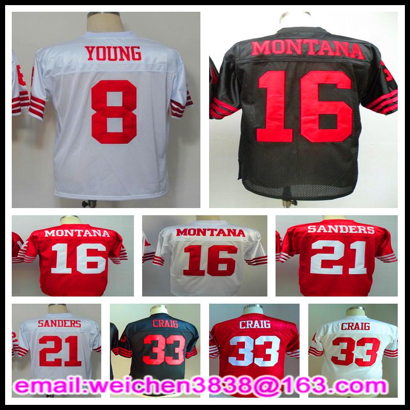 Retro Throwback Jersey 16 Joe Montana 21 Deion Sanders 33 Roger Craig 8 Steve Young Mens Jerseys Vintage(China (Mainland))