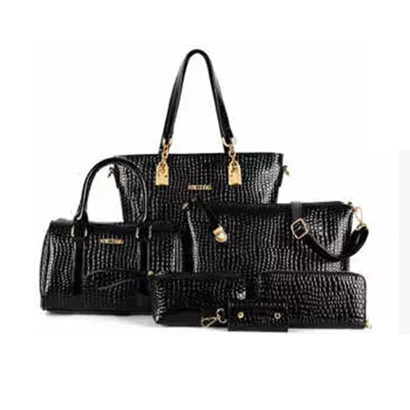 New Style Women PU Leather Crocodile Print 5 Pieces Composite Bags High Quality Casual Tote Should Bags Ladies Handbag Purse(China (Mainland))
