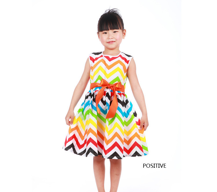 cute cotton print girl summer dress baby girls princess dresses vestidos kids dress QZ141204