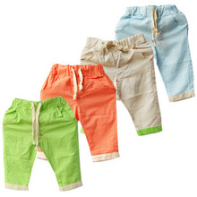 2014 New Summer capri Kids Pants Boys Pants for Girls Children Linen Cotton Pants Casual Leisure Trousers  Fantasia Infantil(China (Mainland))