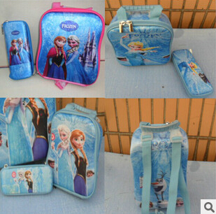 Free shipping Ice and snow 2015 new Frozen  two-piece set   EVA lunch bag + Pencil case  bolsa neoprene(China (Mainland))