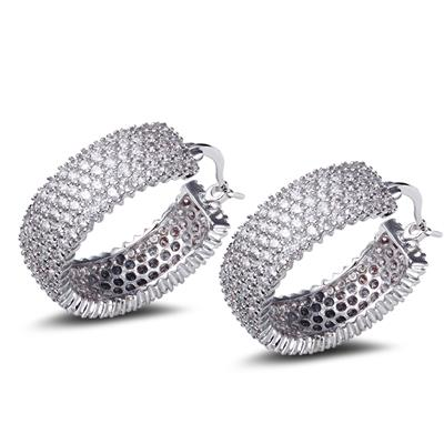 28MM fashion Hoop Earring crystal earrings for girl gold plated with white CZ wedding party earring body jewerly Free shipment(China (Mainland))