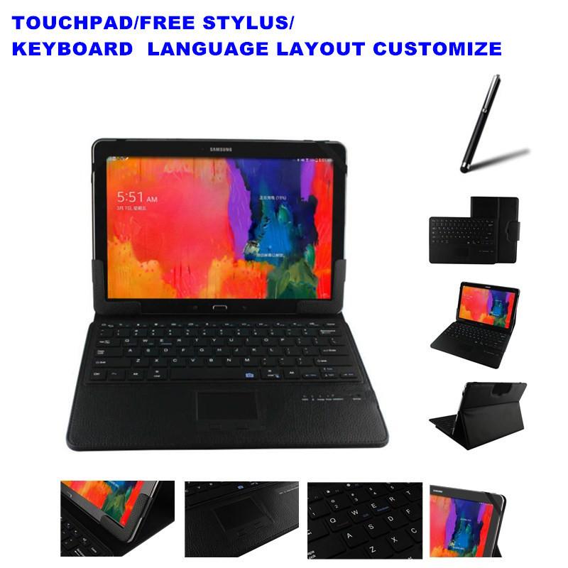 2 Free Gifts Wireless Touchpad Bluetooth Keyboard Case for Samsung Galaxy Tab Pro 12.2 P900 Keyboard Language Layout Customize(China (Mainland))