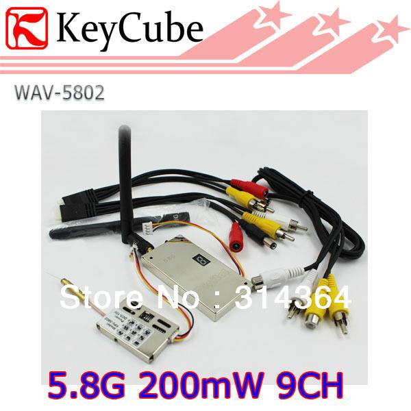5.8G Wireless Video Audio Transmitter and Receiver 9CH 200mW 400m Range AV Sender for FPV Telemetry System Free Shipping(China (Mainland))