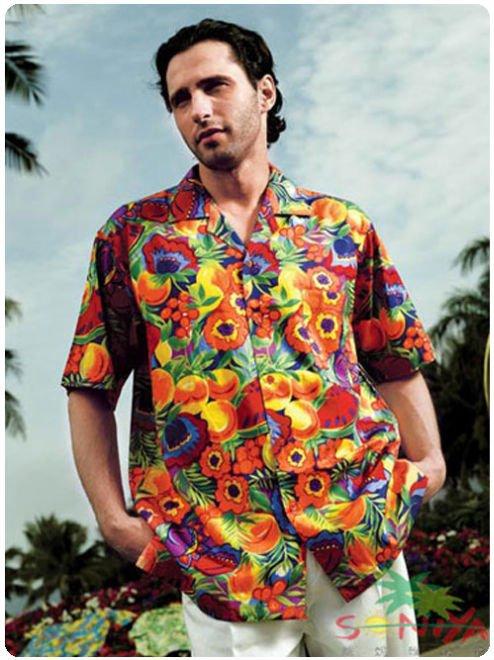 $15 off per $150 order Free Shipping Mix Order Cotton Aloha Shirt Short Sleeved Fruits Printed Hawaii(China (Mainland))