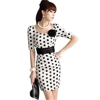 Free Shipping 2015 Summer New Women's Flower Adornment BeforeThe Bosom Collar Wave Point Dress S M L XL XXL RG120061