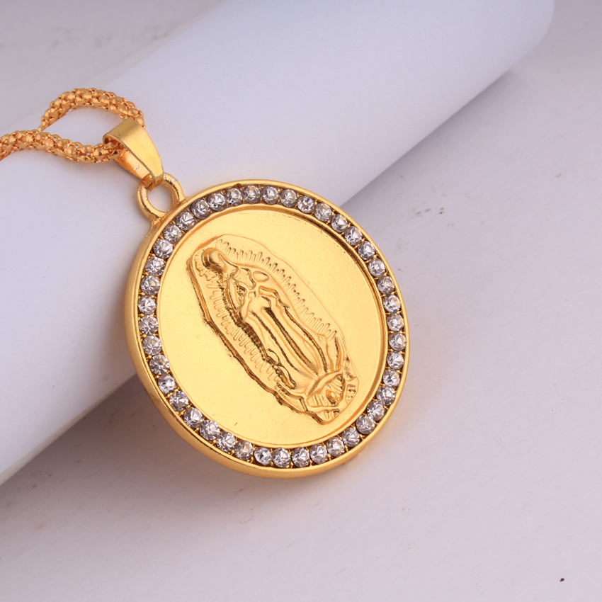 New Virgin Mary Round Necklace Trendy 18K Gold Plated Women/Men HIP HOPJewelry Necklaces Wholesale Collier(China (Mainland))