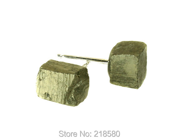 SER-003 Boho Style Jewelry Cube Pyrite Stud Earrings Silver or gold(China (Mainland))