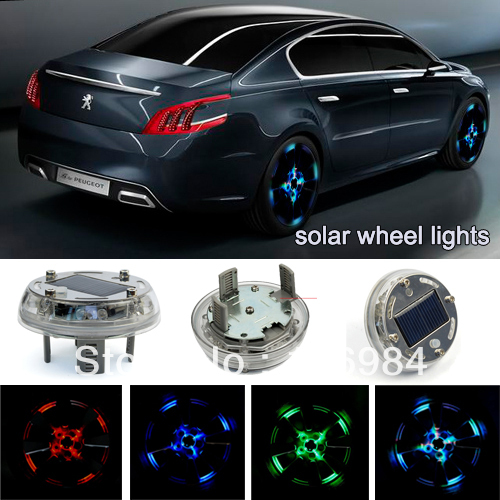 New Solar Car Wheels Lamp Car Arc Lamp Tire Decorative Lights Fit All CAR 4 Color Available(China (Mainland))