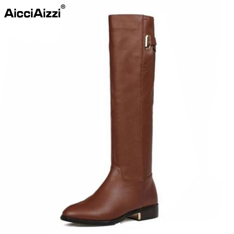 Size 35-43 Winter Warm Over Knee Fur Buckle Brand Qaulity Real Leather Boots Lady Women Fashion Snow Shoes Footwear Boots R1494(China (Mainland))