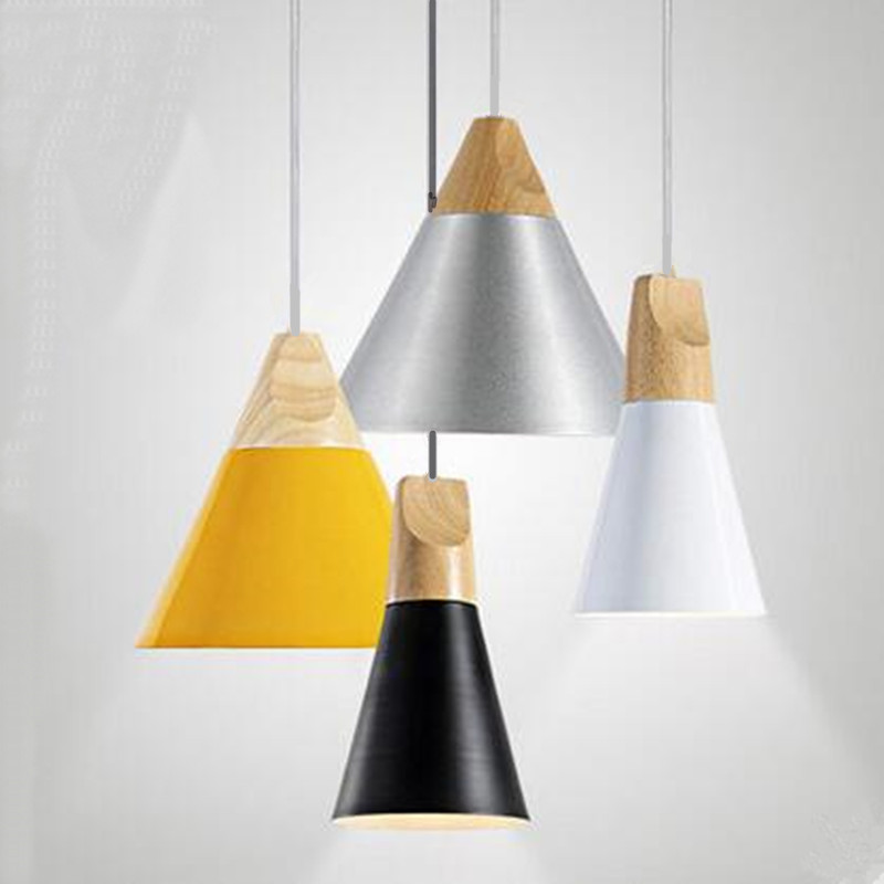Indoor Lighting Pendant Lights Wood And Aluminum Lamp