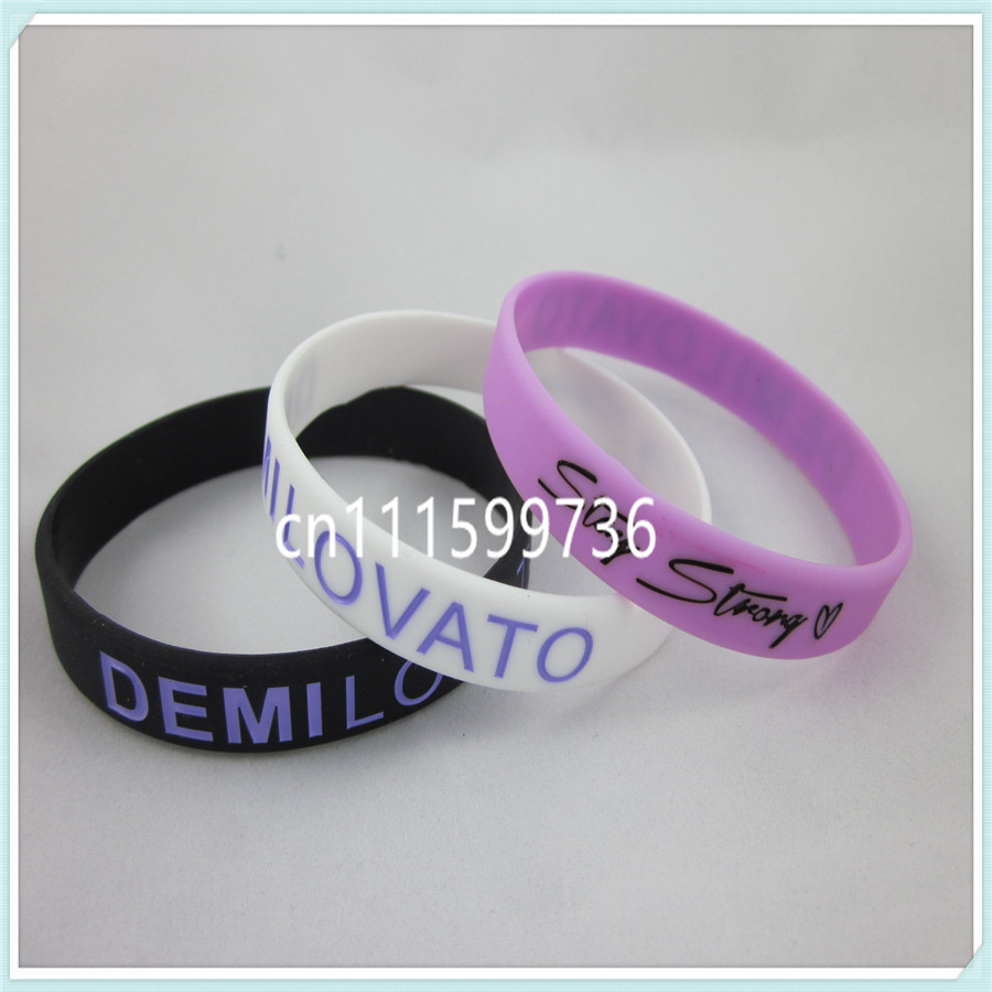 STAY STRONG DEMI LOVATO WRISTBAND, silicon bracelet, filled in colour, 3colours, 100pcs/lot, free shipping(China (Mainland))