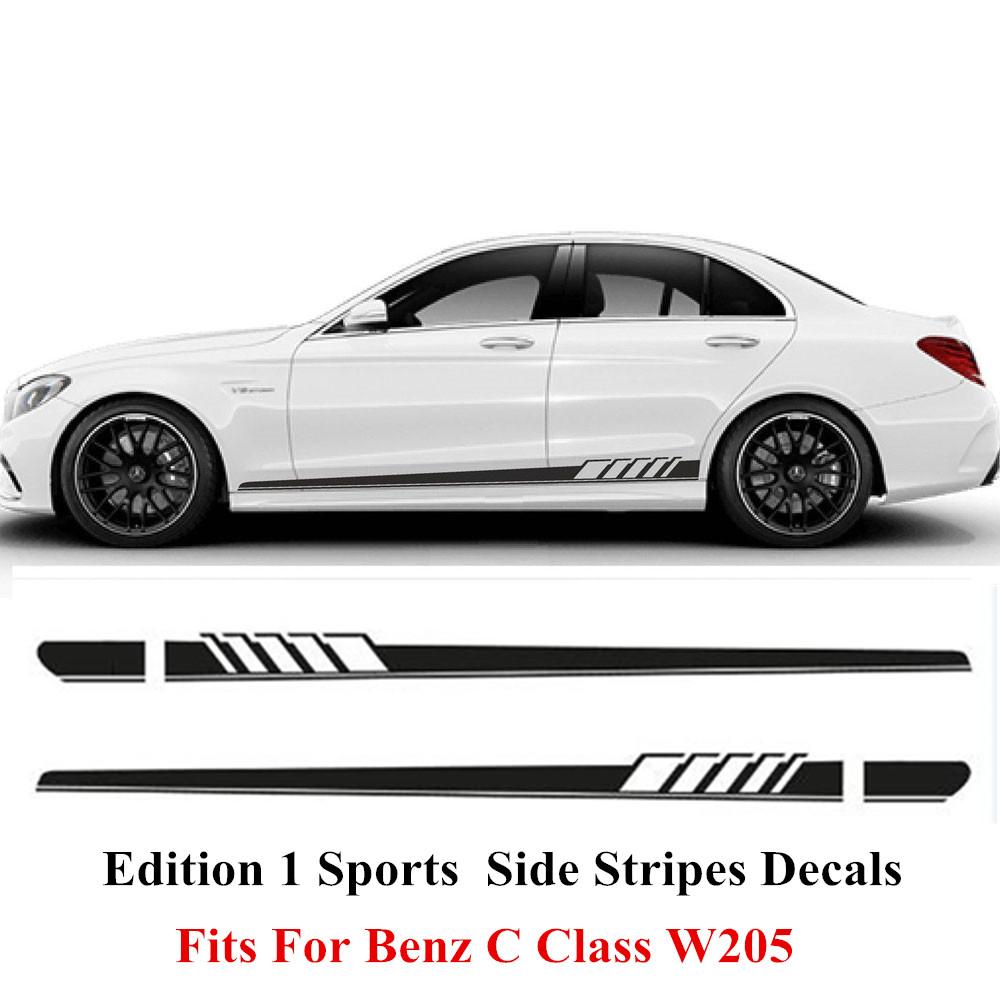 Gloss Black Auto Side Skirt Car Sticker AMG Edition 507 Racing Stripe Side Body Garland for Mercedes Benz C Class W204 W205(China (Mainland))