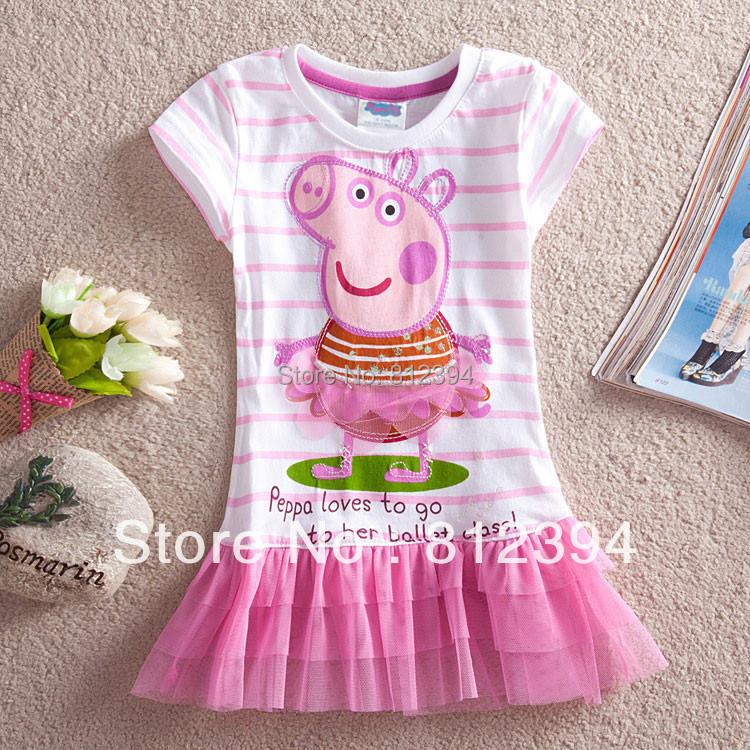 Retail,free shipping,new summer dress 2016 kids baby girls dress striped peppa pig clothing dress for girls children clothing(China (Mainland))