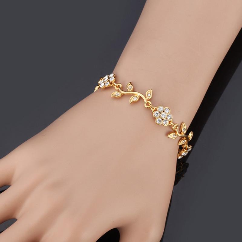 buy charm bracelets platinum 18k real gold plated chain rhinestone flower leaf. Black Bedroom Furniture Sets. Home Design Ideas