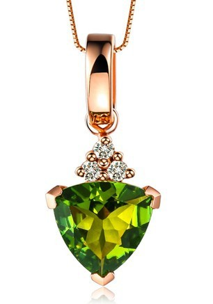 VVS Gemstone Valentine Gift Classic GVBORI 18K Rose Gold Green Gemstone Pendant gift for women  Anniversary Free Shipping