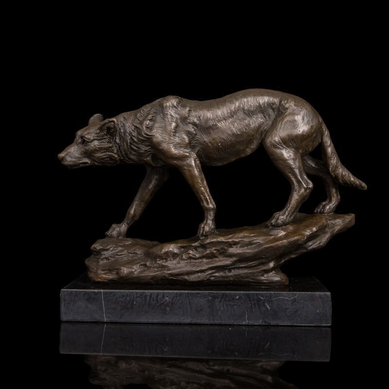 100 Real Bronze Figurine Vintage Brass Wolf Sculptures